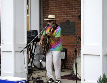 Local blues and rock legend Mojo Collins performs at First Friday in 2019.