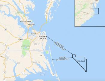 The Kitty Hawk Wind Energy Area is 122,405 acres. 27 miles offshore, the turbines will be barely visible if at all.