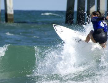 Catching a wave in the semifinal round at the WRV Pro OBX.