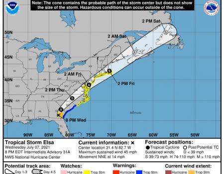 Tropical Storm Elsa storm track forecast, 5:00 p.m. July 7.