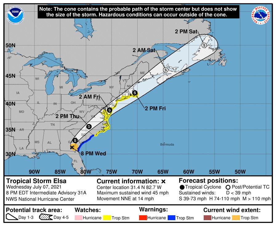 National Hurricane Service Tropical Storm Elsa storm track 5:00 p.m. July 7.