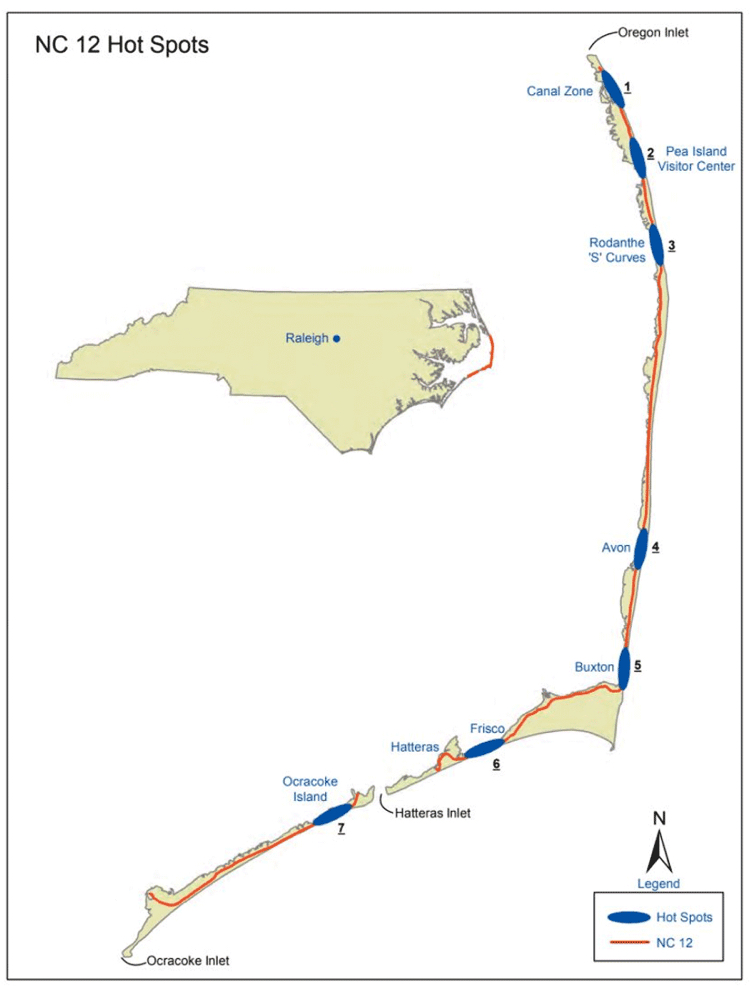 Map showing NC12 hotspots on Hatteras Island and Ocracoke.